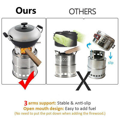 New Version Collapsible Wood Stove Burner Outdoor Backpacking Camping Stove UK