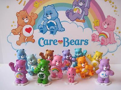 Care Bear Figure Set of 12 Different Wonderheart Cheer Bed Time Good Luck Wish