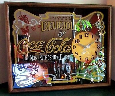 """Vintage Coca Cola Mirror Wall Clock Sign Refreshing Drink In World 21"""" Battery"""