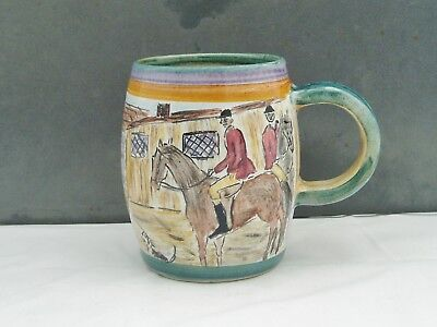 DENBY POTTERY GLYN WARE GLYN COLLEDGE HAND PAINTED FOX HUNTING MUG c1950 RARE