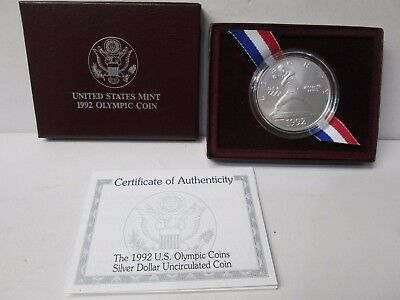 1992 US Olympic Baseball Uncirculated Silver Dollar Commemorative Coin