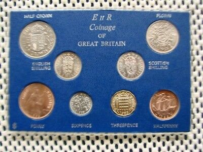 ERII. Great Britain 1966 year set collection. 8 coins. Uncirculated ? Cased.