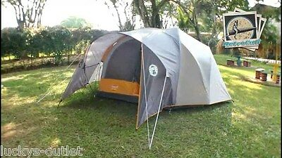 Coleman Bayside 6-Person Family Dome C&ing Tent - Orange/ Grey USED & COLEMAN BAYSIDE 6-PERSON Family Dome Camping Tent - Orange/ Grey ...
