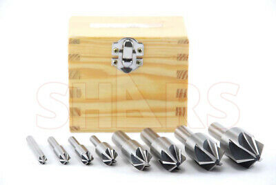 Shars 8 Pcs 90 Degree 6 Flute HSS Machine Countersink Set New