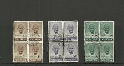 India Sg305-307 Gandhi Used Blocks Of 4 -Look
