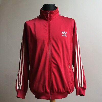 VINTAGE 1990s ADIDAS FIREBIRD TRACKSUIT SPORTS JACKET RED D7 GB 42/44 XLARGE