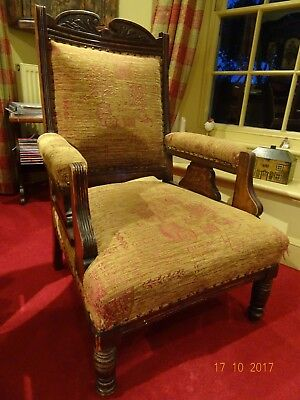 Edwardian Carved and Part Upholstered Armchair