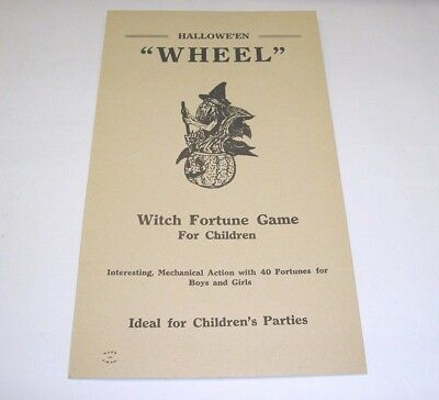 "1936 Halloween ""Wheel"" Witch Fortune Game Directions & Fortunes Card Only"