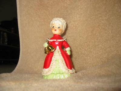 Vintage Napco Christmas Angel Bell Shopper  Red White Green Gold