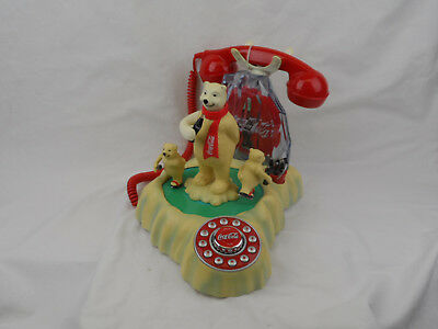 Coca Cola Animated Ice Skating Polar Bear Phone Plays Music Pre-Owned