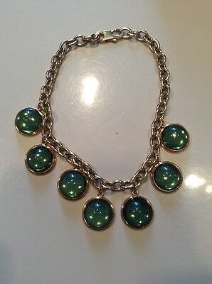 Authentic Lalique Paris Cabochons Green Goldtone Chain Crystal Choker Necklace