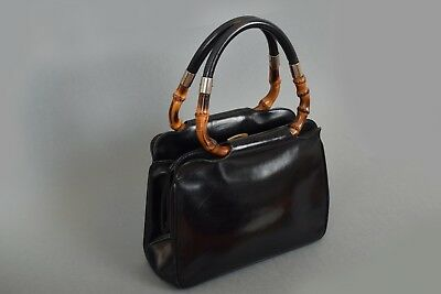 VINTAGE GUCCI 1930s / 1940's BAMBOO HANDLE BLACK LEATHER HAND BAG EVENING PURSE