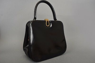 VINTAGE GUCCI 1930s / 1940s BLACK LEATHER KELLY BOX HAND BAG EVENING PURSE RARE