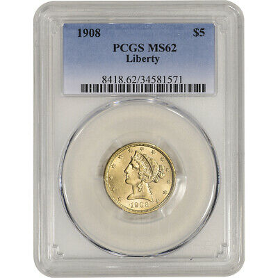 US Gold $5 Liberty Head Half Eagle - PCGS MS62 - Random Date