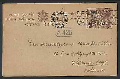 1925 British Empire Exhibition Overseas 1&1/2d Postcard Used 8 Jul 25 To Holland