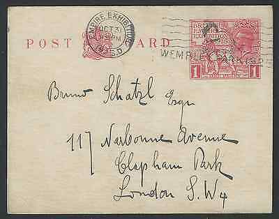 1925 British Empire Exhibition 1d Red Wembley Postcard Used 31 Oct 1925 Last Day