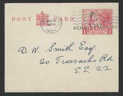 British Empire Exhibition 1924 1d Red Postcard Used Wembley 30 May 24 To London