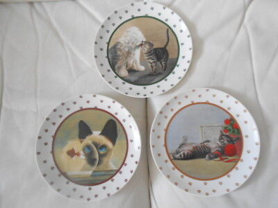 Lowell Herrero Vandor paws Japan 1986 set of 3 cat porcelain plates