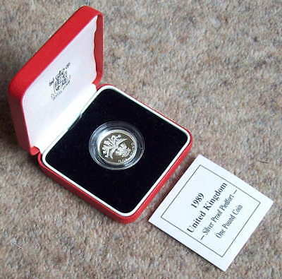 1989 silver piedfort £1 (one pound) coin; cased + COA as issued