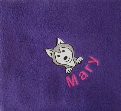 HUSKY Personalised Embroidered Fleece Pet Blanket - 16 Colours