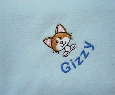 CAT / KITTEN Personalised Embroidered Fleece Pet Blanket - 16 Colours Available