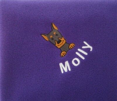 DOBERMAN PINSCHER Personalised Embroidered Fleece Pet Blanket - 16 Colours