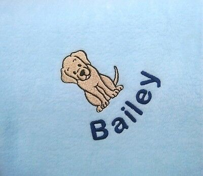 LABRADOR Personalised Embroidered Fleece Dog Blanket - 16 Colours Available