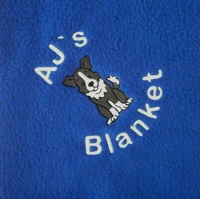 BORDER COLLIE Personalised Embroidered Fleece Dog Blanket - 16 Colours