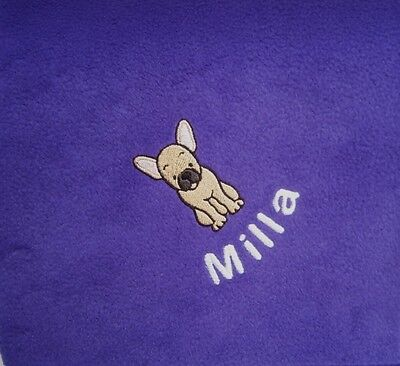 FRENCH BULLDOG Personalised Embroidered Fleece Dog Blanket - 16 Colours
