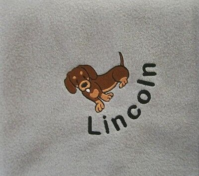 DACHSHUND Personalised Embroidered Fleece Dog Blanket - 16 Colours Available
