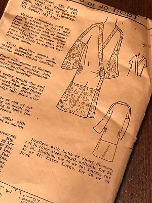 RARE VTG 1920's ART DECO NEGLIGEE Sewing Pattern 38/40 BUST