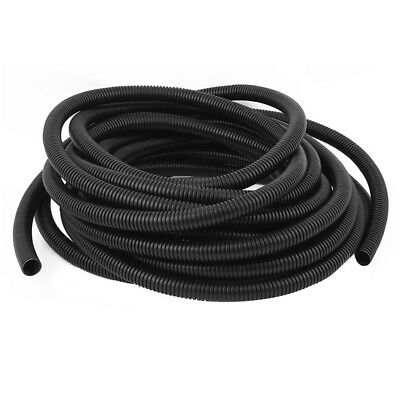 Corrugated Wire Cable Conduit Tubing Tube Pipe 16mm OD 10M Long Black W7M9 M6S3