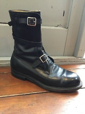 Amazing Vintage Black Leather Dehner's Dehners Strap Military Buckle Boots 10