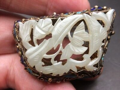 Vintage Chinese white jade carving brooch pin