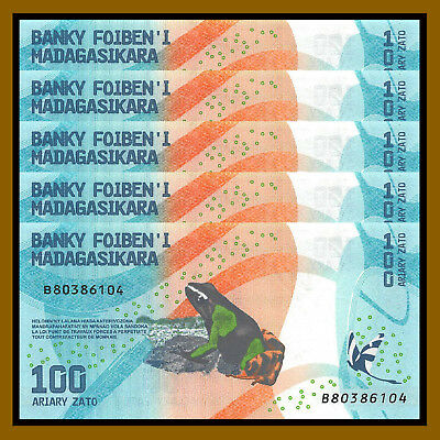 Madagascar 100 Ariary x 5 Pcs, 2017 P-New Frog Colorful Unc