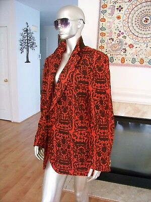Vtg Rare 50's SMOKING Tuxedo ROYAL BRITISH Crown PRINT Silk BLAZER Jacket WoW!