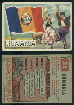 (54736) 1956 Topps Flags Of The World 28 Rumania-VG+