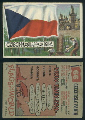 (54743) 1956 Topps Flags Of The World 66 Czechoslovakia-VG