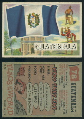 (54754) 1956 Topps Flags Of The World 78 Guatemala-VG+