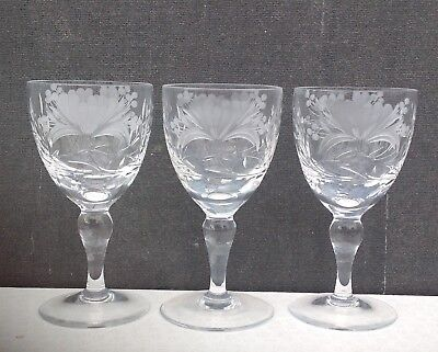 Royal Brierley crystal Honeysuckle small wine glasses x3
