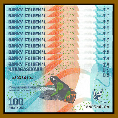 Madagascar 100 Ariary x 10 Pcs, 2017 P-New Frog Colorful Unc