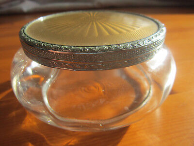 Vintage Vanity Puff Powder Bowl With Gilded Silver Cover