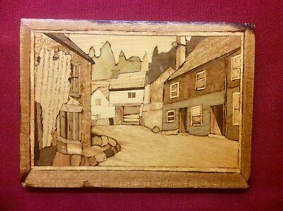 Vintage Inlaid Marquetry Wood Cut Wall Picture,CASTLE COMBE WILTSHIRE,Art Deco