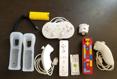Nintendo Wii Accessories Bundle Controllers LEGO Nunchuk Steering Sensor Pad Lot