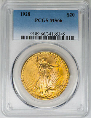 1928 $20 Gold St. Gaudens, Double Eagle - PCGS MS66 - US Rare Coin