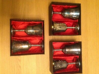Six Silver Plated English Vintage Wine Drinking Goblets - Boxed