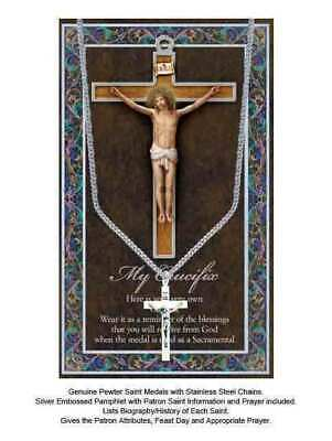 My Crucifix PewterMedal Pendant 37x20mm, Stainless Steel Chain, Biography Card