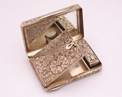 HAND ENGRAVED SOLID SOLID SILVER COMPACT WITH MIRROR, POWDER AND LIPSTICK 209 gr