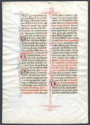 1480 Large Italian Breviary Leaf on Vellum Exquisite Pen Work Roman Catholic