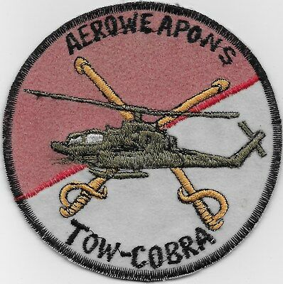 "Rare Original Vn ""tow Cobra Gunship, Aero Weapons"" Patch - Emb On Felt"
